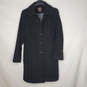 Anne Klein Black Wool Cashmere Pea Coat
